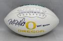 Marcus Mariota Autographed Oregon Ducks Logo Football With Heisman- JSA W Auth