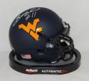 Bruce Irvin Autographed West Virginia Mountaineers Blue Mini Helmet- JSA W Auth