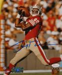 Jerry Rice Autographed 49ers 8x10 Shoulder Catch PF. Photo- JSA Witnessed Auth