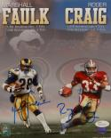 Marshall Faulk Roger Craig Signed 8x10 Rushing/ Receiving Yards Photo- JSA W Auth