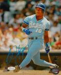 Bo Jackson Autographed Kansas City Royals 8X10 Swinging Photo PF.- JSA W Auth