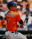 George Springer Signed *Blue Houston Astros 8X10 Batting PF. Photo- JSA W Auth
