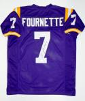 Leonard Fournette Autographed Purple College Style Jersey- JSA Authenticated