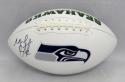Michael Bennett Autographed Seattle Seahawks Logo Football- JSA Witnessed Auth
