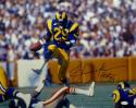 Eric Dickerson HOF Autographed Rams 16x20 Holding Ball In Air Photo- JSA W Auth