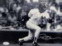Deion Sanders Autographed NY Yankees 8x10 B&W Swinging Photo- JSA Witnessed Auth