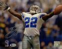 Emmitt Smith Autographed Dallas Cowboys 8x10 Celebration PF Photo- Beckett Auth