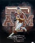 Johnny Manziel Autographed 16x20 A&M Logo Photo W/ Heisman- JSA Witnessed Auth