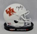 Greg Ward Autographed Houston Cougars White Mini Helmet - JSA Witnessed Auth