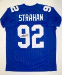 Michael Strahan Autographed Blue Pro Style Jersey- JSA Witnessed Authenticated
