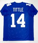 Y.A. Tittle Autographed Blue Pro Style Jersey With HOF- JSA Witnessed Auth