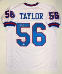 Lawrence Taylor Autographed White Pro Style Jersey With HOF- JSA W Authenticated