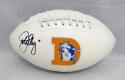 John Elway Autographed Denver Broncos TB Logo Football- JSA Witnessed Auth