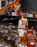 Hakeem Olajuwon Signed 8x10 Dunking Over Armstrong *Silver  JSA-Witness
