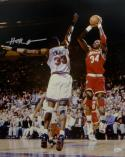 Hakeem Olajuwon Houston Autographed 16x20 Against Ewing Photo- JSA W Auth