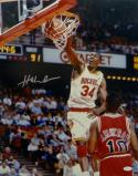 Hakeem Olajuwon Houston Signed 16x20 Dunking Over Bulls Photo- JSA W Auth