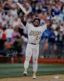 Rickey Henderson Autographed 16x20 With Base *White - JSA W Authenticated