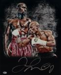 Floyd Mayweather Signed 16x20 Double Image Red Shorts Photo- Beckett Auth