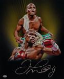 Floyd Mayweather Signed 16x20 Double Image with Belt Photo- Beckett Auth