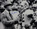 Roger Staubach Autographed Cowboys 16x20 B&W With Landry Photo- JSA W Auth