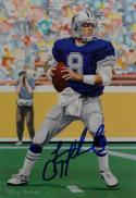 Troy Aikman Autographed Dallas Cowboys Goal Line Art Card- JSA Auth