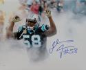 Thomas Davis Signed *Blue Carolina Panthers 16x20 In Smoke Photo- JSA W Auth