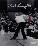 Bob Knight Autographed 8x10 B&W With Red Chair Photo and JSA W Auth