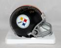 Jack Lambert Signed *Gold Pittsburgh Steelers Mini Helmet W/ HOF- JSA W Auth