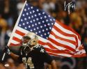 Cameron Jordan Autographed 16x20 Running With Flag Photo- JSA W Authenticated