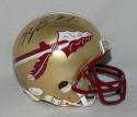Kelvin Benjamin Autographed Florida State Gold Riddell Mini Helmet- JSA W Auth