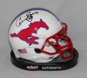 Craig James Signed SMU Mustangs Schutt Mini Helmet *Black*- JSA W Auth