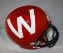 TJ Watt Autographed Wisconsin Red Alt Schutt Full Size Helmet- JSA W,  Watt HOLO