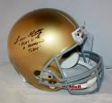 Lou Holtz Signed Notre Dame F/S  Helmet W/ Play Like A Champion Today- JSAW Auth