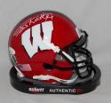 JJ Watt Signed Wisconsin Badgers Red Schutt Mini Helmet JSAW Auth, Watt Holo WHT