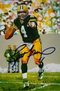 Brett Favre Autographed Green Bay Packers Goal Line Art Card - JSA W Auth