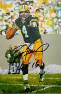 Brett Favre Autographed Green Bay Packers Goal Line Art Card W/ HOF JSA W *thin*