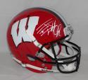 JJ Watt Autographed Wisconsin Badgers Red with Blk Full Size Helmet JSA W Auth