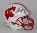 JJ Watt Autographed Wisconsin Badgers White Schutt Full Size Helmet JSA W Auth