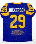Eric Dickerson Autographed Blue Pro Style Stat2 Jersey W/ HOF- JSA Witnessed Auth