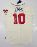 Chipper Jones Autographed Atlanta Braves Cream Majestic MLB Authentic Jersey PSA