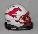 Lance McIlhenny Autographed SMU Mustangs Schutt Mini Helmet- JSA Witnessed Auth