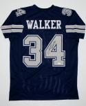 Herschel Walker Autographed Navy Pro Style Jersey- JSA W Authenticated