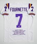 Leonard Fournette Autographed White College Style Stat Jersey- JSA W Authenticated