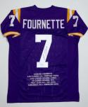 Leonard Fournette Autographed Purple College Style Stat Jersey- JSA W Auth