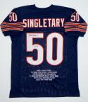 Mike Singletary Autographed Navy Pro Style Stat Jersey w/ HOF JSA W Auth