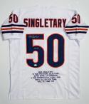 Mike Singletary Autographed White Pro Style Stat Jersey w/ HOF JSA W Auth