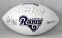 Marshall Faulk Autographed LA Rams Logo Football w/ HOF- JSA W Auth