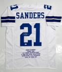 Deion Sanders Autographed White Pro Style Stat Jersey- JSA Witnessed Auth