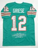 Bob Griese Signed / Autographed Teal Stat Pro Style Jersey- JSA Auth HOF Inscribed