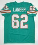 Jim Langer Autographed Teal Pro Style Jersey w/ HOF 87 - SGC Authentic